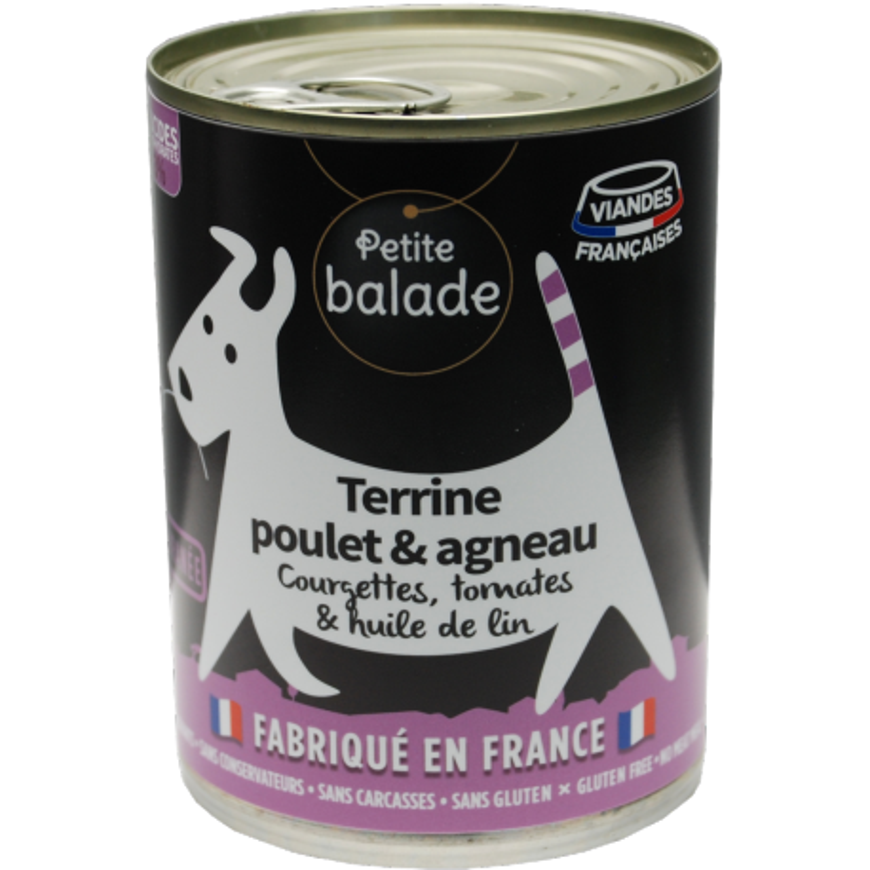 "Terrine de poulet et agneau 400G - Humide ""Petite balade"""