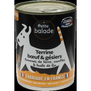 """Terrine de bœuf et gésiers 400G - Humide """"Petite balade"""""""