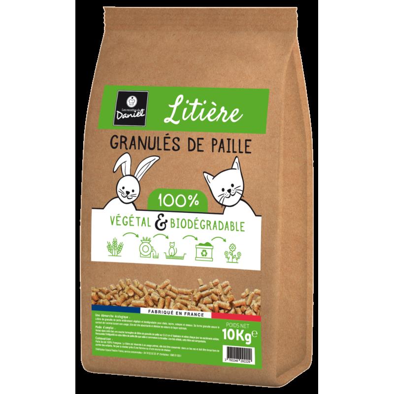 Litière végétale en granulés de paille 'La litière préférée de Daniel' (sac de 10kg)